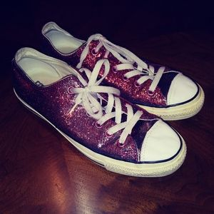 Converse shoes sparkly red